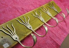 Go Green Stained 5 Funky Forks Coat Rack by jjevensen on Etsy, $60.00