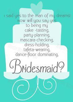 Will you be my bridesmaid? #bridesmaid  Repin by Inweddingdress.com