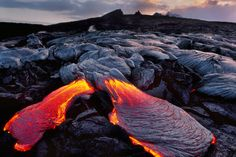 Scalding lava oozes from the Earth in Hawai'i Volcanoes National Park