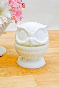 milk glass and owl