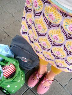 pink clogs + print skirt | spring~summer style inspiration