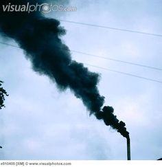 Smoke from textile factory smokestack, UK
