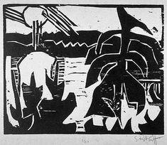 Los artistas del grupo DIE BRÜCKE- EL PUENTE- hicieron de la xilografía el centro de su actividad, iniciando así el renacimiento de esta téc...