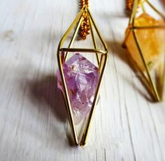 Caged Amethyst Amulet Necklace