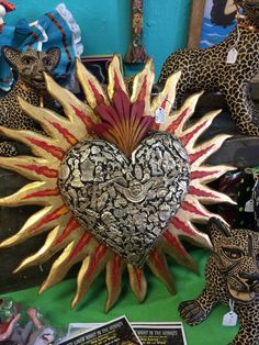 Beautiful Sacred Heart with milagros. Photo by: Shoegirl Corner Memento Mori, Pattern Texture, Tin Art, I Love Heart, Mexican Folk Art, Polymer Clay Art, Sacred Heart, Heart Art, Religious Art