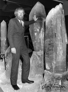 Jim with real giant crystals in Paris, 1983 for the Dark Crystal.