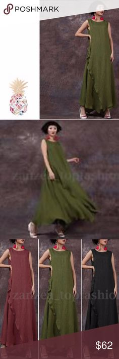 5X, Sleeveless Loose long maxi dress IN STOCK NOW!! SIZE: 5X Fashion Design,100% Brand New,High Quality! Material: Rayon Linen Slub Type: Dress Color: Army Green,Wine Red,White,Black Package include: 1 Dress Product Details: -Long Maxi Dress -Kaftan Style -Big Swing -Large Size -Crew Neck -Multi-color -Simple And Comfortable -Perfect For All Kinds Of Occasions IN STOCK NOW!!! Dresses Maxi