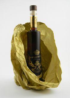 Nocenero Grappa brandy with walnuts packaging created by Basile Advertising for Distilleria Antonellis.