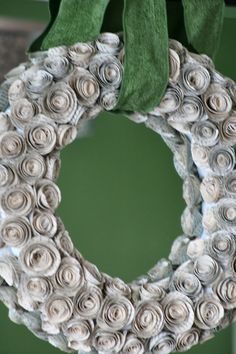 My New Paper Rose Wreath             I am so pleased with how my wreath turned out! For my first one I think it is awesome. I should have b...