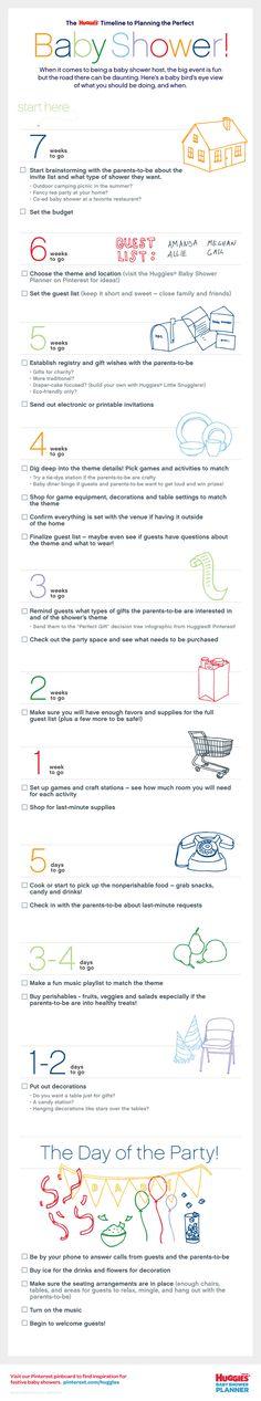 Huggies® Baby Shower Planner on Pinterest..Timeline on a Baby Shower
