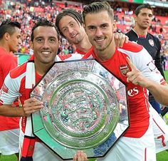 Cazorla and Ramsey with 2014 Community Shield Arsenal Fc, Arsenal Soccer, Arsenal Players, Football Fever, Football Team, Soccer Fans, Soccer Players, Community Shield, Sports Personality