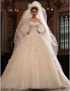 ALBA LUZ - Vestido de Noiva em Cetim e Tule