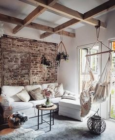 Exposed Brick Beams And A Hammock Chair Interior Interiorinterior Exteriorliving Room