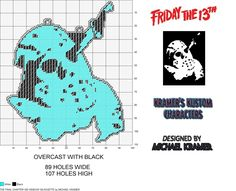 Friday The 13th The Final Chapter Glow In Dark Window Silhouette plastic canvas pattern by Michael Kramer