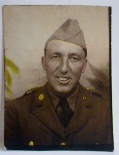 BC127 Vintage Photobooth Photo US  Army Soldier WWII Era Uniform Jaunty Cap