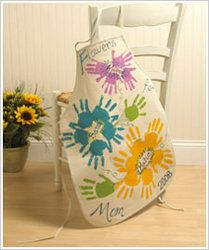 """great mother's day gift-- apron with hand print """"flowers"""""""
