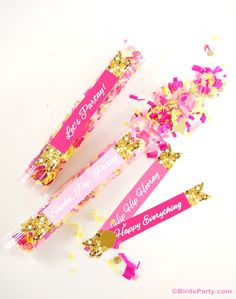 DIY Confetti Poppers Tutorial with glitter printables - perfect for weddings, birthdays and confetti bars!