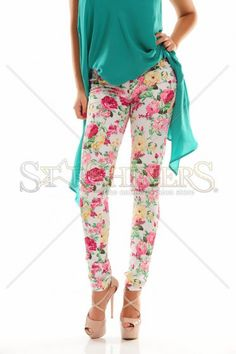 Trendy Roses White Trousers