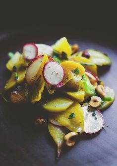 beet hazelnut radish salad from six course dinner