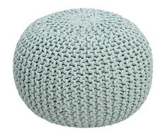 Pouf in cotone tricot verde menta, d 55 cm - 53 Pouf En Crochet, Crochet Hats, Pouf Chair, Fabric Balls, Birthday Wishlist, Home Living, Living Room, Loom Knitting, My Baby Girl