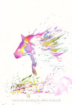 Zen Horse Art Watercolor   Print 8x11 Animal Horse  by mallalu, $20.00