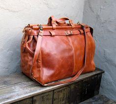 c606f63498 Vintage Large Rugged Tan Leather Birkin Style Large Travel Duffle Bag
