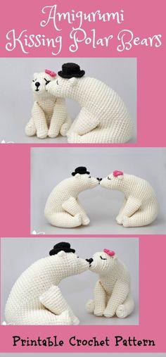 Kissing Bears Amigurumi Pattern, wedding crochet pattern, home decor, bridal shower, diy gifts, polar bears, white bears, valentine's day #bridalshower #uniquegifts #ad #crochetpattern #amigurumi #bears