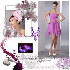 """""""Lavender Empire Sweetheart Cocktail Dress Asymmetrical Chiffon Bow Dama Dresses"""" by weddingdressesforyou ❤ liked on Polyvore"""