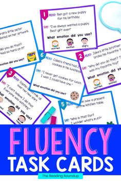 Reading fluency activities are meant to be fun! Students can use these task cards to practice expressive reading to match how the character is feeling. They will have so much fun practicing reading with expression that they won't realize they're improving their reading comprehension at the same time! The corresponding printable emotions charts can be used as an anchor chart during small groups Reading Fluency Activities, Teaching Reading Strategies, Fluency Practice, Reading Resources, Reading Comprehension, Emotion Words, Reading Buddies, Small Group Reading, First Grade Reading