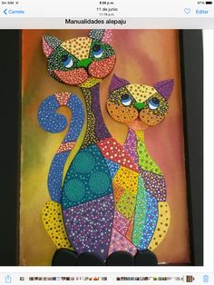 Gatos Dot Painting Tools, Dot Art Painting, Mandala Painting, Mandala Art, Stone Painting, Cat Quilt Patterns, Applique Patterns, Cat Applique, Applique Quilts