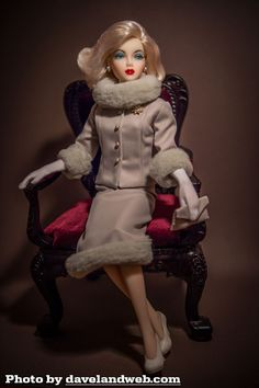 """Fur-trimmed ensemble fr Marilyn Monroe film """"Something's Got To Give"""" recreated for Dave by Diane Wagner"""