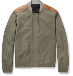 Tim Coppens - Textured Cotton-Blend and Leather Bomber Jacket