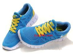 Blue Yellow White Nike Free Run 2 Women's Running Shoes Nike Free Run 2, Nike Free Shoes, Yellow Nikes, White Nikes, Blue Yellow, Running Shoes On Sale, Nike Running, Blue Sneakers, Beach Shoes