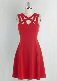 Darling of the Dance-a-thon Dress in Scarlet. The sizzling hue and chic cutouts of this cherry-red dress will keep you dancing 'til sunrise! #red #modcloth