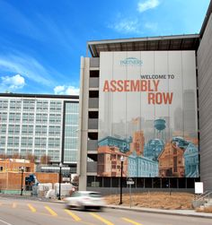 Multi-story scrim wall on parking garage - built and installed by DCL. Experiential, Signage, The Row, Multi Story Building, Garage, Branding, Park, Architecture, Fabric