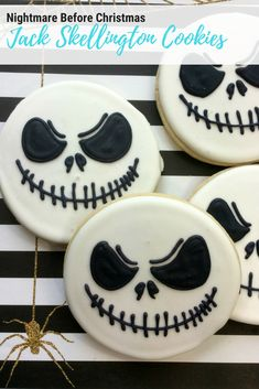 These adorable Jack Skellington Cookies are the easiest Halloween treats to make, and Jack Skellington is one of my favorite Disney Villains. Gear up for Halloween with these easy Nightmare Before Christmas cookies. These Jack Skellington Sugar Cookies are so easy your kids can make them. No Halloween party is complete without Jack Skellington Cookies!  #disneyvillains  jack skellington  nightmare before christmas   halloween