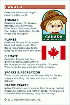 MakingFriends Facts about Canada Printable Thinking Day fact card for our passports. Perfect if you chose Canada for your Girl Scout Thinking Day or International Night celebration. Canada For Kids, O Canada, Canada Travel, Canada Day 2017, Canada Day 150, Canada Funny, Canada Day Crafts, Canadian Things, Canadian Facts
