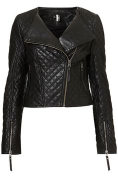 Shop for Quilted Collarless Biker Jacket by Topshop at ShopStyle. Motorbike Jackets, Punk Fashion, Womens Fashion, Topshop, Chanel, Quilted Jacket, Quilted Leather, Lambskin Leather, Dress To Impress