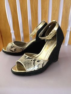 Next Wedge Peep Toe Black & Pale Gold Shoes Size 4 - Worn Once