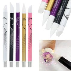 Fantastic 5 Pcs Set Nail Art Silicone Head Painting Pen Nail Design Brush #Unbranded
