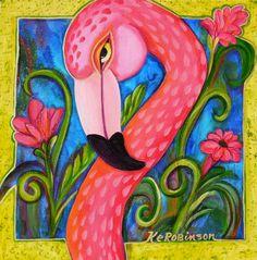 Flamingo Original fine art painting pink green by KeROBinson, $225.00