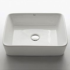 Add an elegant touch to your bathroom with a Kraus vessel sink Rectangular ceramic sink boasts a smooth, shiny white exterior and interior Bathroom sink will enhance any home improvement remodel