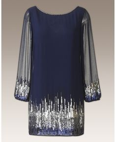 New Years Eve? Joanna Hope Petite Joanna Hope Ombre Sequin Tunic - Length from at Simply Be Fashion Mode, Look Fashion, Womens Fashion, Cute Dresses, Cute Outfits, Party Dresses, Sequin Tunic, New Years Eve Dresses, Mode Chic