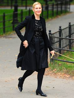 Love her dress and jacket.-Kelly Rutherford