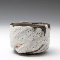 Lisa Hammond - Chawan, black clay with thick white shino glaze