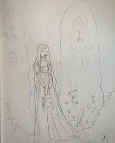 Drawing in the waiting room at the doctors #sketching #medievalfantasy #ladyandstandingstones #lantern #pencildrawing