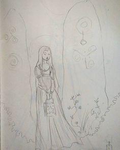 Drawing in the waiting room at the doctors #sketching #medievalfantasy #ladyandstandingstones #lantern #pencildrawing