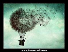 -B Dandelion Hot Air Balloon Tattoo Air Balloon Tattoo, Hot Air Balloon, Air Ballon, Illustrations, Illustration Art, Ciel Nocturne, Business Poster, Art Mural, Wall Art