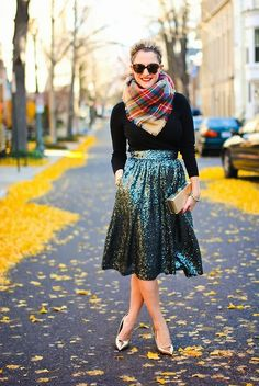 Sequin skirt, cosy tartan scarf, gold kitten heels - stylish Christmas Day outfit