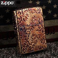 Japanese Plated Golden 5 Sides Arabesque Zippo Lighter 2GI-5KARA